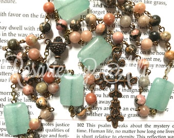 Rhodonite gemstone bead and Aqua stone bead rosary with copper plated chalice center and ornate cross