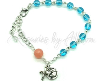 St Gerard Czech Glass bead Rosary Bracelet Turquoise Blue Rose Opal Czech glass beads