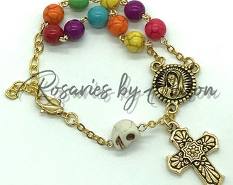 Memento Mori themed rosary bracelet Magnesite beads Howlite skull Our Lady of Guadalupe gold silver bronze Day of the Dead