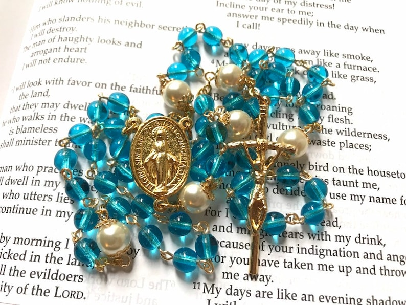 Turquoise Czech glass and Cream Swarovski crystal pearl rosary with gold  plated Miraculous Mary centerpiece and JPII crucifix