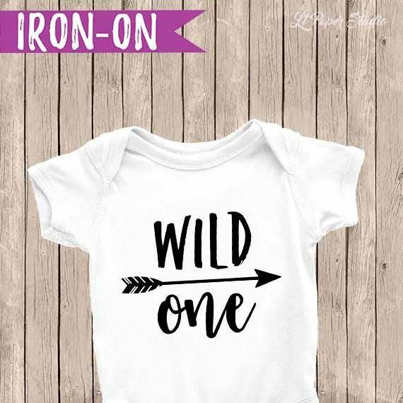 Wild One Iron On Onesie Boy First Birthday Outfit