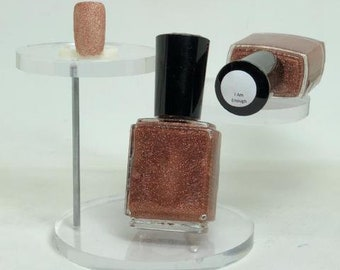 I Am Enough Micro Glitter Indie Nail Polish Copper/Dark Rose Gold Holographic