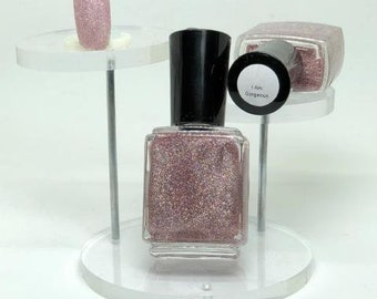 I Am Gorgeous Micro Glitter Indie Nail Polish Light Pink Holographic