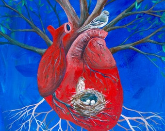 8x10 Digital Print - Anatomy Painting - Heart, Birds, and Tree Painting - Anatomy Art
