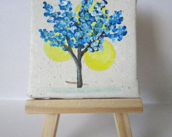2.5x2.5 Mini Painting with Blue Blossoms and Wooden Easel-Spring Art-Tree Art-Tree Painting
