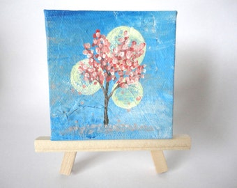 3x3 Mini Painting with Wooden Easel-Cherry Blossoms and Blue Sky-Cherry Blossom Painting-Tree Painting-Spring Painting