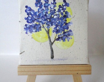 2.5x2.5 Mini Purple Blossoms Painting with Wooden Easel-Spring Art-Tree Art-Tree Painting