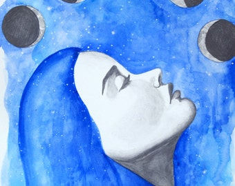 11x17 Digital Art Print of Mixed Media Painting-Watercolor and Graphite-Blue Woman with Moon Cycles-Phases of the Moon