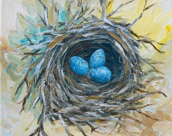 8x8x1.5 Square Bird Nest Painting - Robin Egg Painting - Acrylic on Canvas
