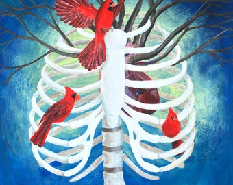 8x10 Art Print-Ribcage with Cardinals-Ribcage with Birds and Tree Branches