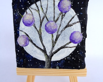 """2.5""""x2.5"""" Mini Acrylic Painting with Easel-Tree with Purple Orbs and Night Sky-Tree Art-Tree Painting"""