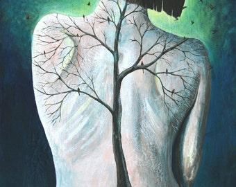 8x10 Art Print-Tree on Woman's Back Painting-Spine-Tree Art