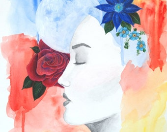 11x17 Digital Art Print-Woman with Moon and Flowers-Watercolor and Graphite on Paper-Mixed Media Painting