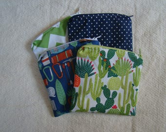 "Made to Order: Set of 2 Snack Bags, 6"" X 6"" with zipper, you choose print."