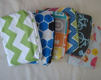 "Made to Order: Set of 2 Small Snack Bags, 6"" X 4"" with zipper, you choose print."