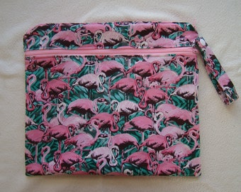 Made to Order: Wet Bag, you choose the style and size, Flamingo print.