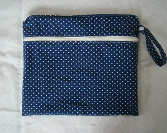 Made to Order: Wet Bag, you choose the style and size, Navy Dot print.