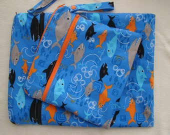 Made to Order: Wet Bag, you choose the style and size, Shark print.