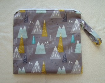 Made to Order: Wet Bag, you choose the style and size, Mountain print.