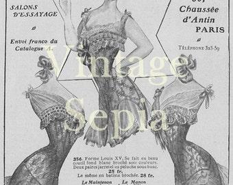 d764c114ac7a6 Vintage 1900s French Corset Underwear Advert Digital Download Image jpeg  no.045