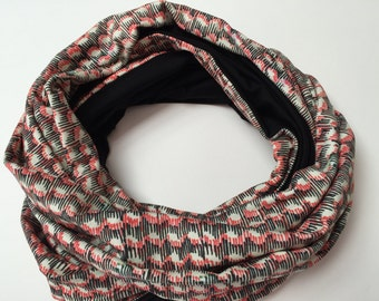 SALE Handmade Infinity scarf 'Waves' in B&W - loop scarf - circular scarf