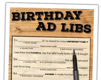 Birthday Mad Libs Printable - Teen / Adult Birthday Game - Adult Party Game for Men & Women - Instant Download #103A