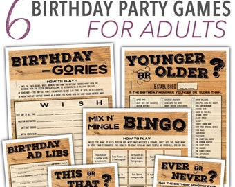 Adult Birthday Games Pack - Men's Birthday Mad Libs, Younger or Older, This Or That, Ever Or Never, & More - Instant Download #103
