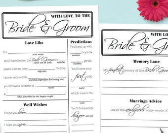 Mad Libs Wedding Advice and Wishes - Guest Book Idea - Rehearsal Dinner Game - Reception Activity - DOWNLOAD [#217]