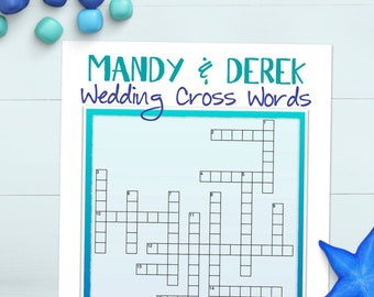 custom wedding crossword puzzle printable bridal shower game rehearsal dinner engagement party 219