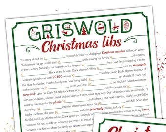 Griswold Christmas Mad Libs - Vacation Movie - Printable Adult Christmas Party Game  [C103]