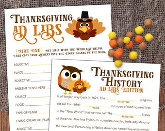 Thanksgiving Mad Libs - Dinner Table Game - School Party Game - Thanksgiving Printable - Thanksgiving Idea [T100]