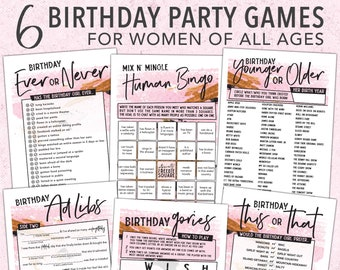 Adult Birthday Games For Women (7pc Pack) Birthday Mad Libs, Younger or Older, This Or That, Bingo, & More - Instant Download #106
