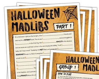 Halloween Mad Libs - Halloween Party Game - Fun Halloween Game - Adult Halloween Game - Teen Halloween Game - Halloween Printable #H100