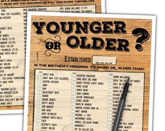 Younger or Older Adult Birthday Game - Birthday Party Game - Fun Birthday Game For Men - Instant Download #103B