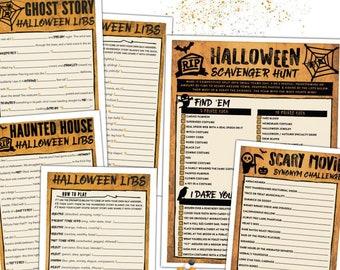 Fun Halloween Game Pack - Adult Halloween Game - Scary Movie Halloween Game, Halloween Mad Libs, Scavenger Hunt - Halloween Activities #H102