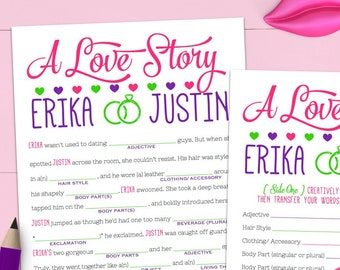 039e21d8763 Funny Unique Bridal Shower Game - Bachelorette Mad Libs Printable -  Engagement Party Game - Personalized   207