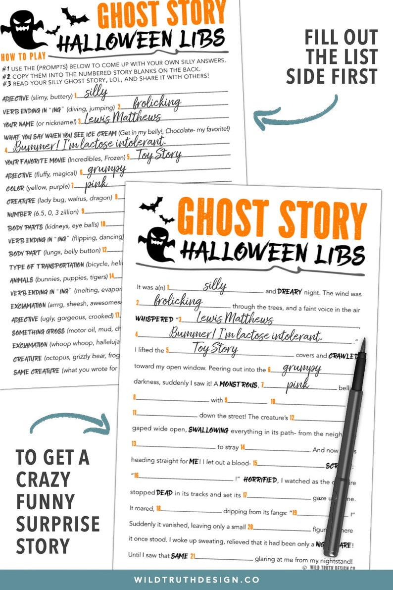 image regarding Halloween Mad Libs Printable Free known as Entertaining Little ones Halloween Recreation - Halloween Insane Libs Center University - Ghost Tale - Halloween Printables - Very last Moment Halloween Social gathering Match #H106