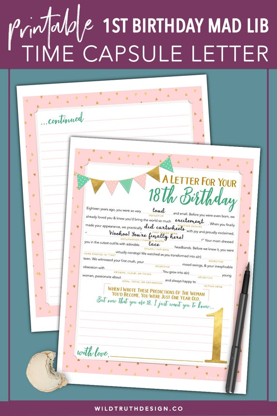 Girls First Birthday Time Capsule Printable Mad Lib Etsy