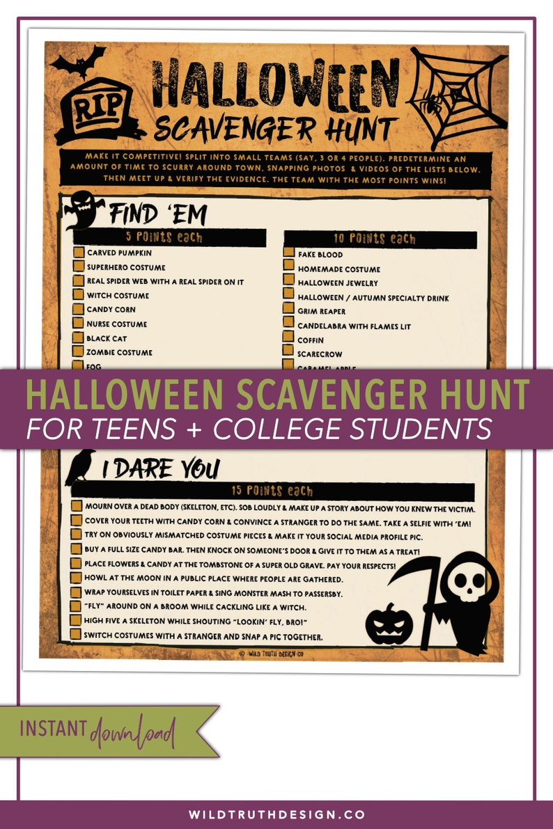 8907fd4f953 Halloween Scavenger Hunt - Halloween Party Game - Scavenger Hunt Teens -  Adult Halloween Game - Adult Scavenger Hunt - Youth Group - #H105