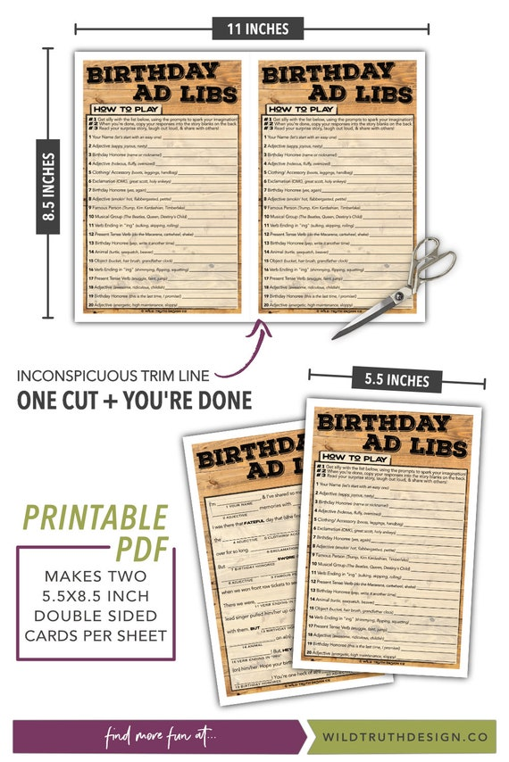 picture about Adult Mad Libs Printable identified as Birthday Ridiculous Libs Printable - Teenager / Grownup Birthday Video game - Grownup Bash Sport for Adult men Ladies - Fast Obtain #103A