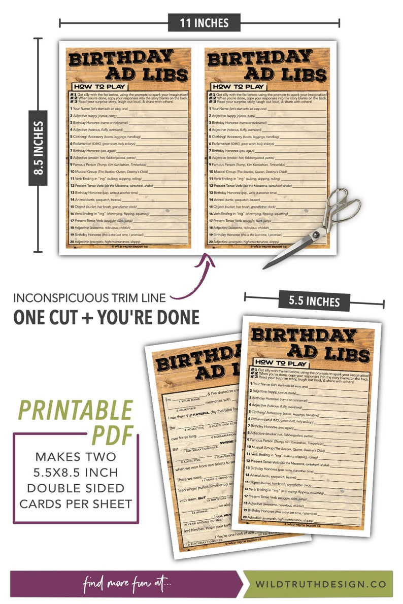 photograph about Printable Mad Libs Sheets for Adults named Birthday Crazy Libs Printable - Teenager / Grownup Birthday Recreation - Grownup Celebration Sport for Adult males Girls - Quick Down load #103A