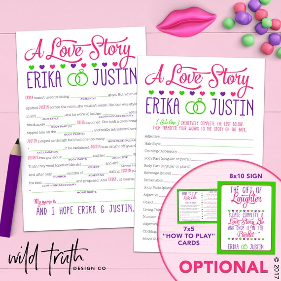 Funny Bridal Shower Game Love Story Mad Lib Personalized