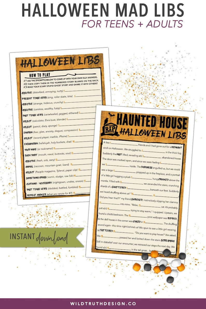 picture regarding Halloween Mad Libs Printable Free referred to as Halloween Outrageous Libs Grownup Halloween Video game - Halloween Bash Activity - Teenager Halloween Sport - Halloween Printable - Halloween Clroom Recreation #H109