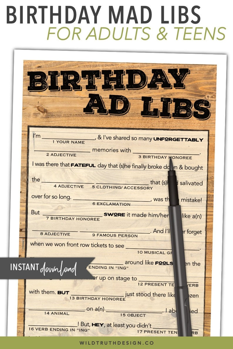 photo about Printable Adult Mad Libs named Birthday Crazy Libs Printable - Teenager / Grownup Birthday Recreation - Grownup Get together Video game for Guys Females - Instantaneous Down load #103A