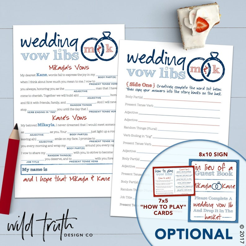 9b6ec3b3f09 Wedding Guest Book Mad Libs Marriage Vows Rehearsal Dinner