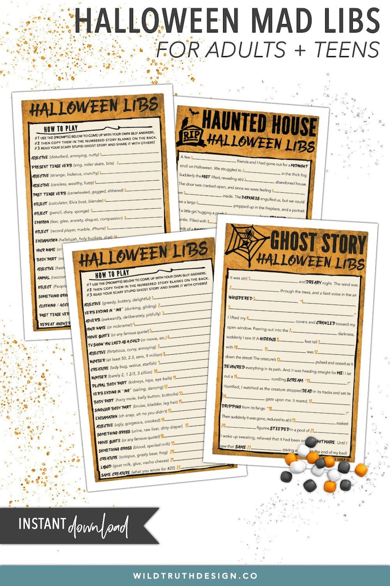 photo relating to Halloween Mad Libs Printable identified as Outrageous Libs Halloween Video game Pack - Teenager Halloween Video games / Grownup Halloween Game titles - Halloween Occasion Suggestions - Halloween Bash Printables #H111