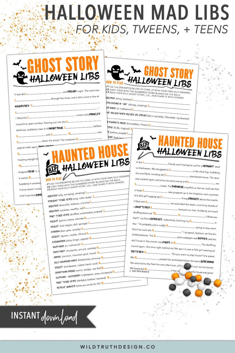 photo about Halloween Mad Libs Printable called Halloween Nuts Libs - Halloween Game titles For Children, Tweens, Youngsters - Halloween Clroom Favors - Halloween Goody Luggage / Trick-or-Deal with Luggage #H110