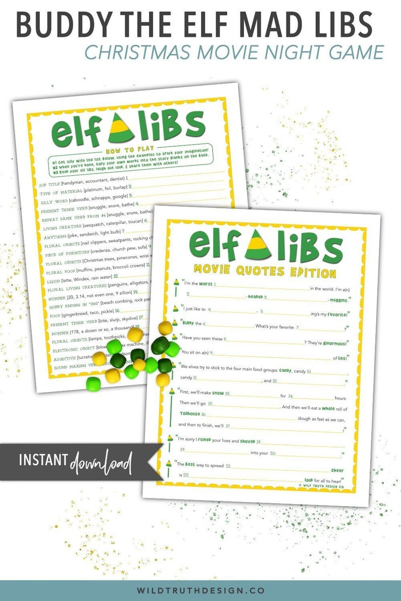 picture regarding Christmas Mad Libs Printable Free identify Elf Online video Prices Xmas Nuts Libs - Friend The Elf Video Get together Recreation Printable [C100]
