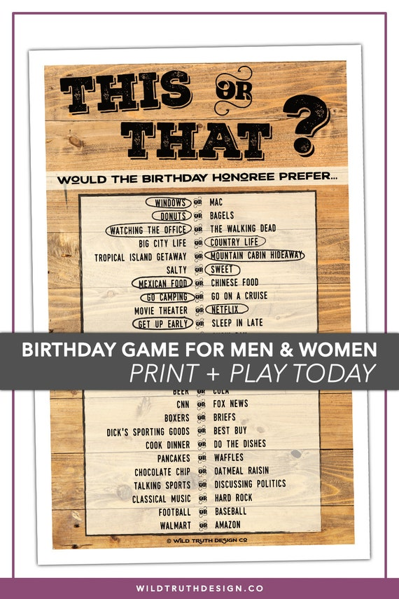 Would They Rather - Adult Birthday Game - This Or That Adult Party Game -  Gender Neutral - Instant Download #103E