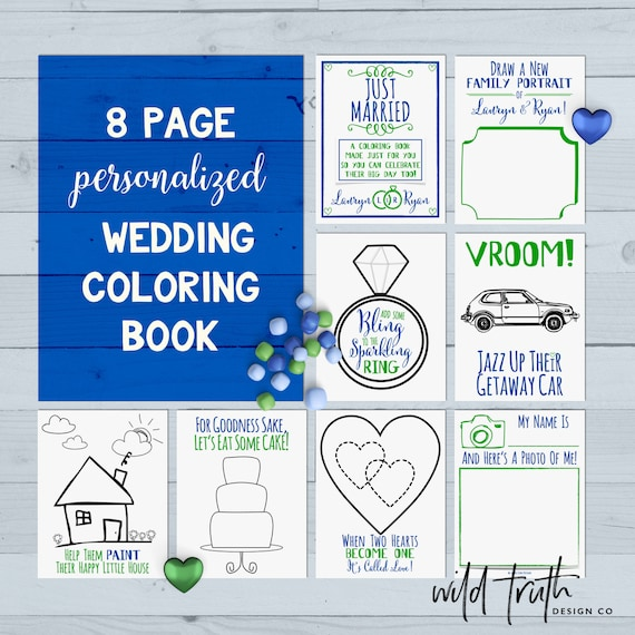 Kids Wedding Coloring Book Printable Custom PDF